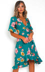 Athena Floral Chiffon Wrap Dress Thumbnail