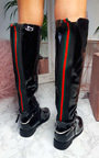 Aubrey Patent Knee High Stripe Boots Thumbnail