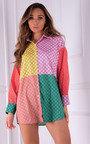Aurora Colour Block Printed Button Up Shirt Thumbnail