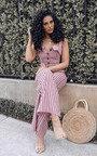 Ava Button Up Stripe Jumpsuit Thumbnail