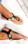 Aviana Pearl Embellished Wedged Sandals  Thumbnail