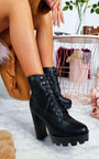 Ayda Faux Leather Lace Up Heeled Boots Thumbnail