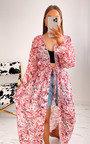 Bambi Printed Belted Kimono Thumbnail
