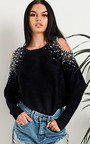 Barney Cold Shoulder Embellished Knit Jumper Thumbnail