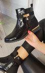 Beatrix Patent Padlock Ankle Boots Thumbnail