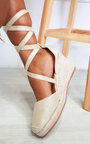 Bebe Faux Suede Lace Up Espadrille Wedges Thumbnail