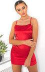 Belle Square Neckline Satin Mini Dress Thumbnail