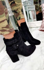 Bianca Buckle Faux Suede Ankle Boots Thumbnail