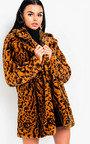 Bianca Leopard Print Faux Fur Coat Thumbnail