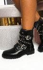 Blake Buckle Studded Biker Boots  Thumbnail