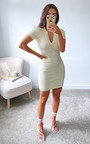 Blakely Collared Knitted Bodycon Mini Dress Thumbnail