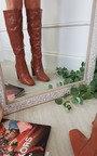 Cally Croc Print Knee Length High Heeled Boots Thumbnail