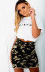 Candice Camo Denim Frayed Skirt Thumbnail