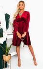 Capri Velvet Tie Wrap Dress  Thumbnail