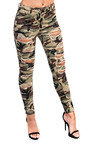 Carmel Skinny Camouflage High-Rise Ripped Jeans Thumbnail