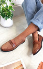 Carrie Faux Croc Print Loafer Flats  Thumbnail