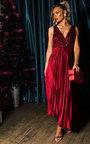 Cassandra Pleated Velvet Sequin Maxi Dress Thumbnail