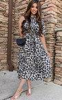 Cassandra Printed Frill Midi Dress Thumbnail
