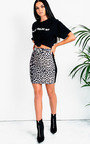 Cece Leopard Side Stripe Skirt Thumbnail