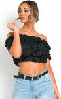 Cece Off Shoulder Ruffle Crop Top Thumbnail