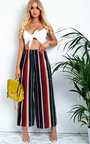Charlotte Striped Wide Leg Trousers Thumbnail