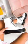 Cherie Lace Up Biker Boots Thumbnail