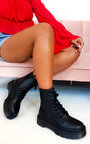 Josie Lace Up Biker Boots Thumbnail