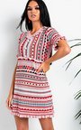 Cheryl Aztec Frill Button Up Dress Thumbnail