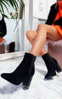 Cheryl Faux Suede Heeled Ankle Boots Thumbnail
