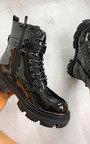 Chrissy Lace Up Patent Biker Boots Thumbnail