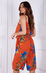 Cici Belted Floral Printed Culotte Jumpsuit Thumbnail