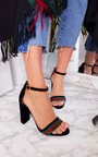 Cindi Barely There Striped Block Heels Thumbnail