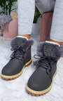 Clara Faux Fur Lace Up Desert Boots Thumbnail
