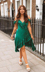 Clara Frill Satin Wrap Dress Thumbnail