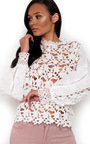 Coco Crochet Frill Long Sleeved Top  Thumbnail
