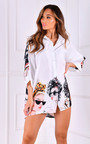 Coco  Oversized Button Up Printed Shirt Thumbnail