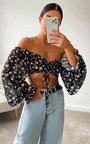 Daisy Off Shoulder Floral Crop Top Thumbnail