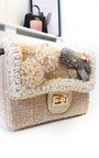 Daisy Pearl & Bow Embellished Tweed Shoulder Bag Thumbnail