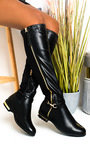 Linsey Faux Leather Knee High Buckle Boots Thumbnail
