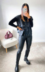 Deena Sleeveless Faux Leather Shirt Jacket Thumbnail