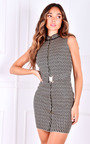 Deja Zip Up Belted Sleeveless Printed Mini Dress Thumbnail