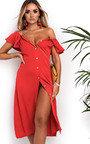 Delilah Off Shoulder Button Up Midi Dress Thumbnail