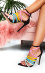 Dora Rainbow Strappy Pointed High Heels  Thumbnail