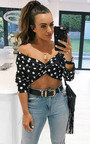 Dotty Polka Dot Tie Crop Blouse Thumbnail