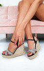 Ebony Diamante Braided Wedged Heel Thumbnail