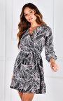 Ebony V Neck Ruffle Hem Mini Dress Thumbnail