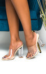 Eden Perspex Mule Block Heels Thumbnail