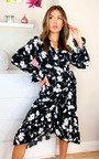 Eden Printed Wrap Midi Dress Thumbnail