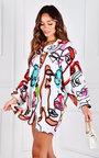 Eleana Button Up Oversized Printed Shirt Dress Thumbnail