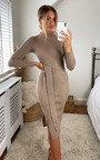 Eledi High Neck Belted Midi Dress Thumbnail